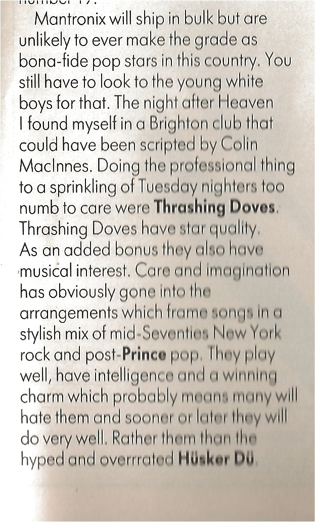 David Toop Live Review in The Face May 86