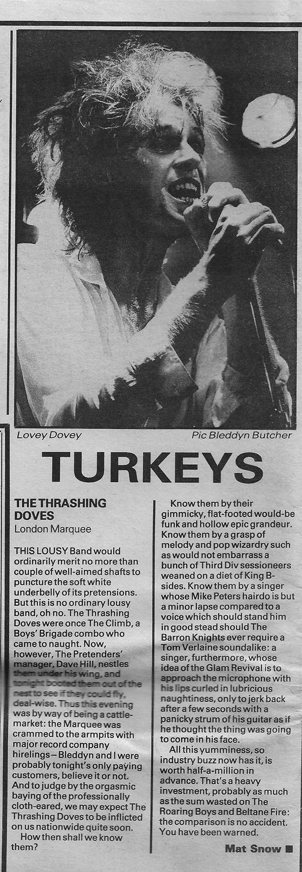 Turkeys NME 5th Oct 1985 b